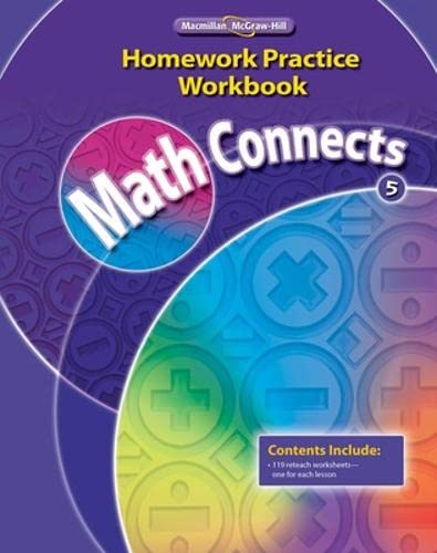 9780021072996: Math Connects, Grade 5, Homework Practice Workbook (ELEMENTARY MATH CONNECTS)
