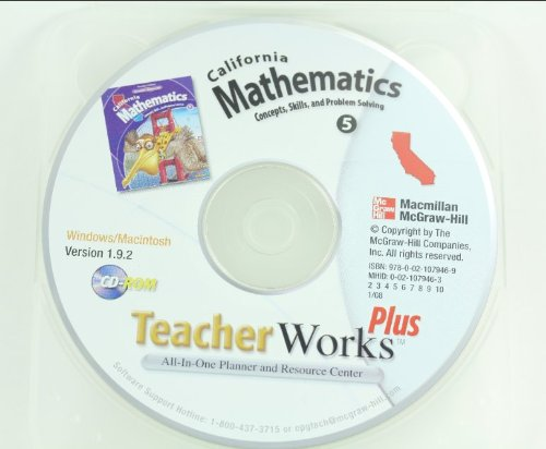 9780021079469: TeacherWorks Plus Grade 5 CD-ROM Set (CA Mathematics Concepts, Skills, and Problem Solving)