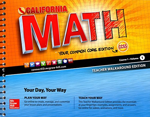 9780021356829: CA Math Course 1 Vol 1 Teacher Walkaround Edition 2015