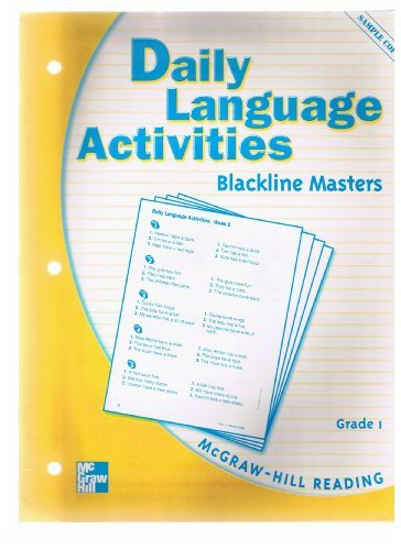 9780021855988: Daily Language Activities Blackline Masters Grade 1 SAMPLE COPY (McGraw-Hill Reading)