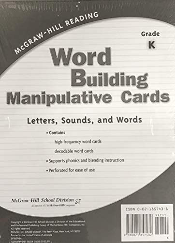 9780021857432: McGraw-Hill Reading Grade K Word Building Manipulative Cards