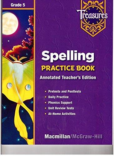 9780021936441: Treasures Spelling Practice Book Grade 5 Annotated Teacher's Edition