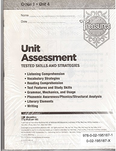 9780021951871: Treasures: Unit Assessment: Tested Skills and Strategies: Grade 1: Unit 4: 10 Pack