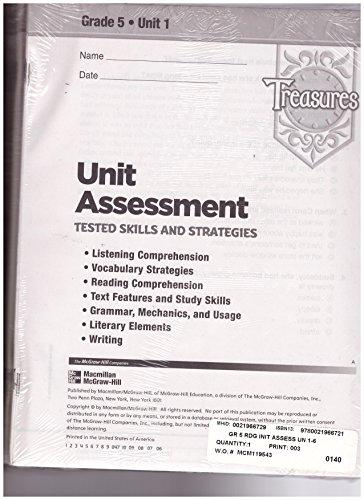 9780021966721: Treasures Grade 5 Units 1-6 Unit Assessment Tested Skills and Strategies 6 Packs in One Package