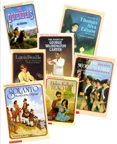 9780022028428: Historical Biography Books (12) : Jackie Robinson - Against All Odds - The Wright Brothers - George Washington Carver - Squanto - They Made a Revolution - Lous Braille - Helen Keller's Teacher (Scholastic Biography Library for Kids : Grade 3 - 4)