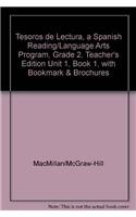 9780022054748: Tesoros de lectura, A Spanish Reading/Language Arts Program, Grade 2, Teacher's Edition Unit 1, Book 1, with Bookmark & Brochures