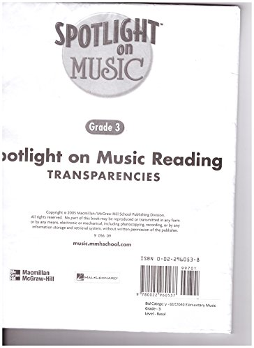 9780022960537: Spotlight on Reading Transparencies (Spotlight on Music, Grade 3)