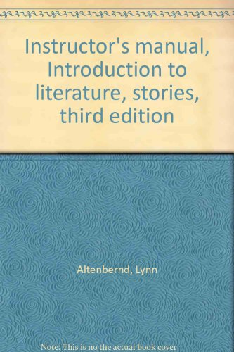 9780023020803: Instructor's manual, Introduction to literature, stories, third edition
