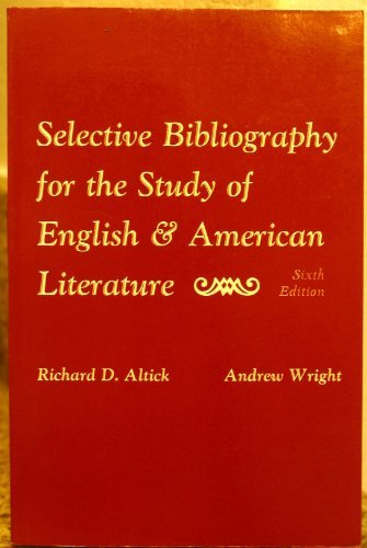 9780023021107: Selective Bibliography for the Study of English and American Literature