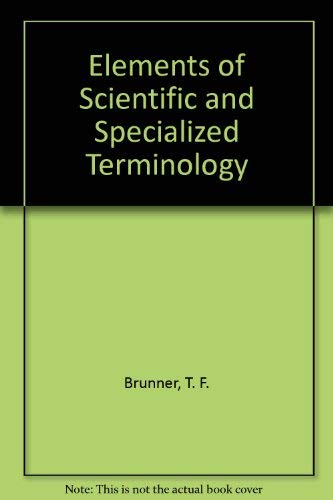 9780023159107: Elements of Scientific and Specialized Terminology