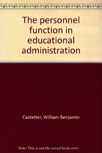 9780023201905: The personnel function in educational administration
