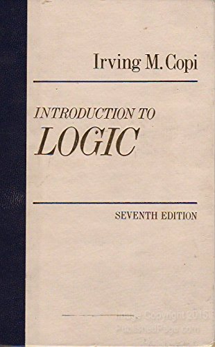9780023250200: Introduction to Logic 7ED