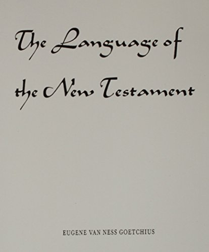 9780023445309: The Language of the New Testament