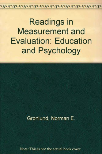 9780023482601: Readings in Measurement and Evaluation: Education and Psychology