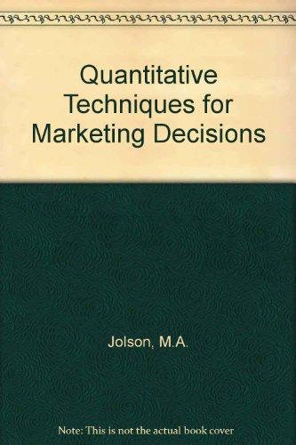 9780023611506: Quantitative Techniques for Marketing Decisions