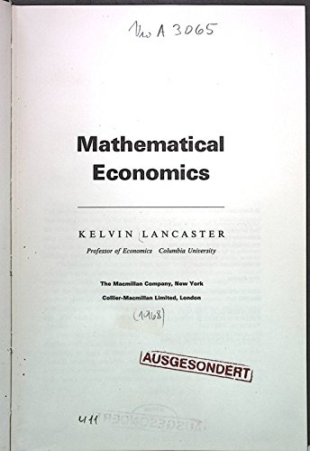 9780023673603: Mathematical Economics