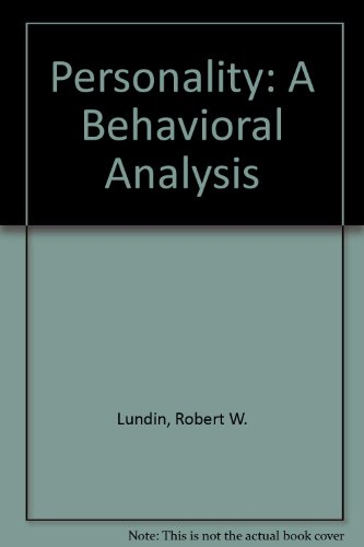 9780023726606: Personality: A Behavioral Analysis