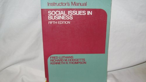 9780023730207: Instructor's Manual Social Issues in Business Fifth Edition