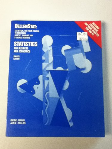 9780023792854: Dellenstat: Statistical software manual to accompany James T. McClave and P. George Benson's Statistics for business and economics