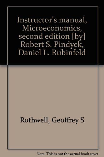 9780023958915: Instructor's manual, Microeconomics, second edition [by] Robert S. Pindyck, Daniel L. Rubinfeld