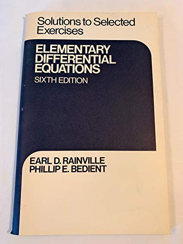 9780023977800: Solutions to selected exercises, Elementary differential equations, sixth edition