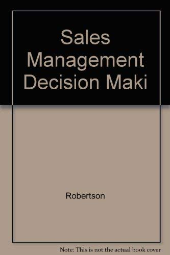 9780024021809: Sales Management Decision Maki