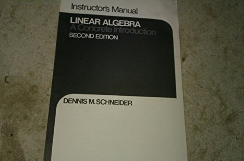9780024069207: Instructor's manual, Linear algebra : a concrete introduction, second edition