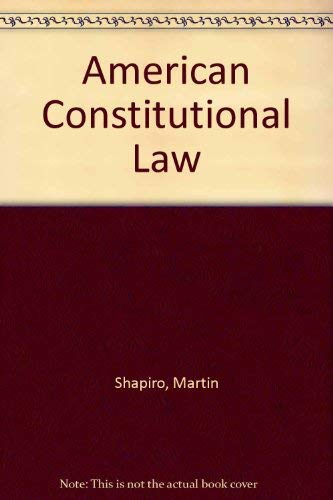 9780024095800: American Constitutional Law