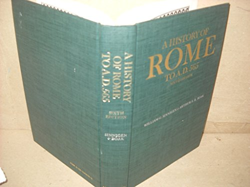 9780024108005: A History of Rome to A.D. 565