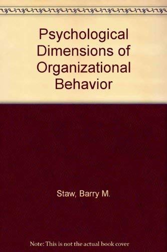 9780024161505: Psychological Dimensions of Organizational Behavior
