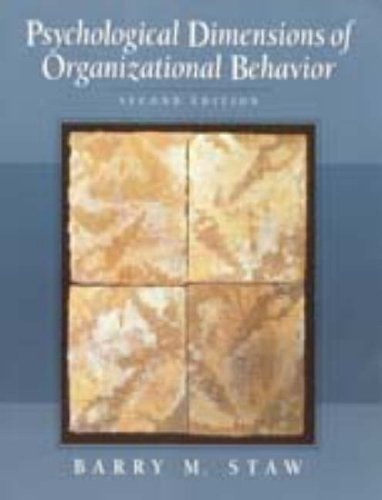 9780024161536: Psychological Dimensions of Organizational Behavior (2nd Edition)