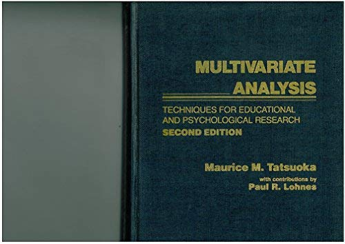 9780024191205: Multivariate Analysis: Techniques for Educational and Psychological Research