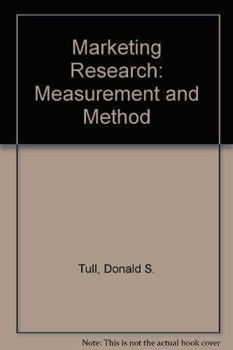 9780024217806: Marketing Research: Measurement and Method