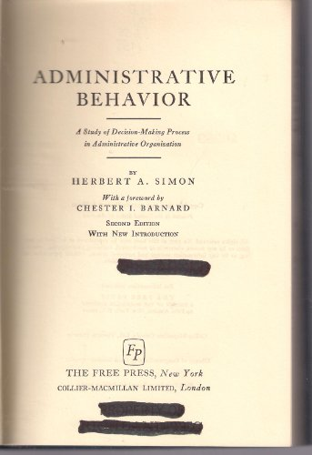 9780026109901: Administrative Behavior