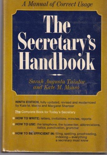 The SECRETARYS HANDBOOK 9TH EDITION (002616230X) by Sarah Augusta Tintor; Kate M. Monro