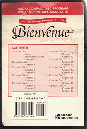 9780026366946: Glencoe French 1 Bienvenue Audio Compact Disc Program with Student Tape Manual TE