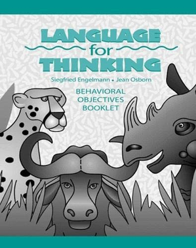 9780026848978: Language for Thinking: Behavioral Objectives Book, Grades 1-3