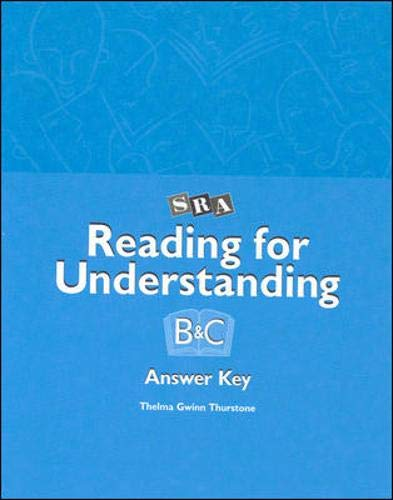 9780026850186: Reading for Understanding - Answer Key Booklet for Levels B & C - Grades 3-12