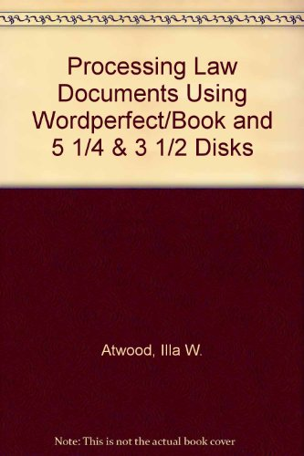 9780028001340: Processing Law Documents Using Wordperfect/Book and 5 1/4