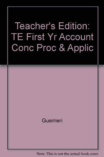 9780028002347: Teacher's Edition: TE First Yr Account Conc Proc & Applic