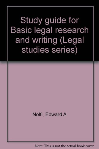 9780028012780: Study guide for Basic legal research and writing (Legal studies series)