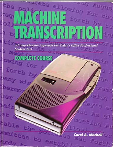 9780028022215: Machine Transcription: A Comprehensive Approach for Today's Office Professional