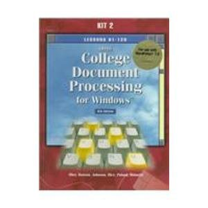 9780028032689: Gregg College Document Processing for Windows: Lessons 61-120 for Use With Wordperfect 7.0