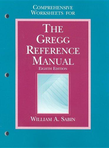 9780028032894: Comprehensive Worksheets for the Gregg Reference Manual