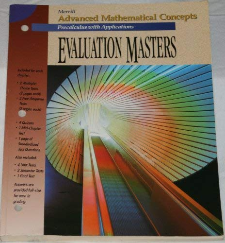 9780028242941: Evaluation Masters for Use with Advanced Mathematical Concepts