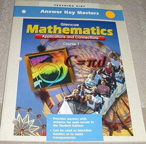 9780028330655: Teaching Aids - Answer Key Masters - Glencoe - Mathematics - Applications and Connections - Course 1