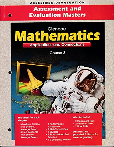 9780028330709: Mathematics: Applications and Connections Course 3: Assessment and Evaluation Masters