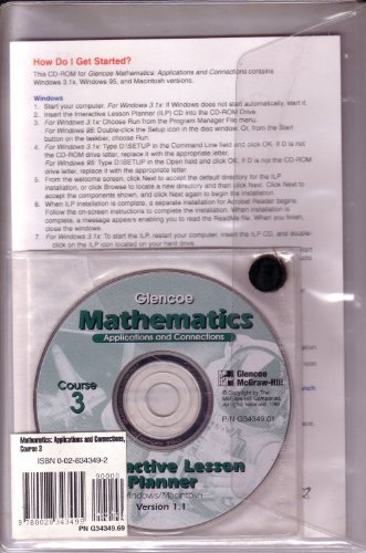 9780028343495: Glencoe Mathematics: Applications and Connections, Course 3, Interactive Lesson Planner Version 1.1