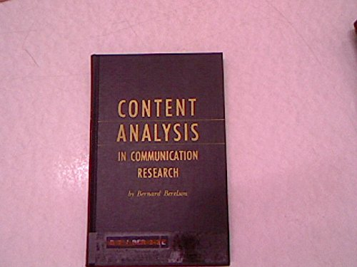 9780028412108: Content Analysis in Communications Research