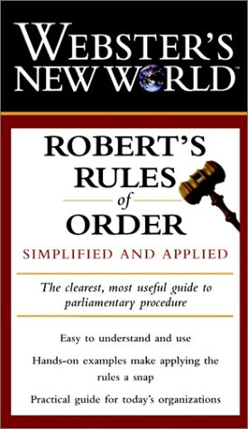 9780028627496: Webster's New World Robert's Rules of Order: Simplified and Applied